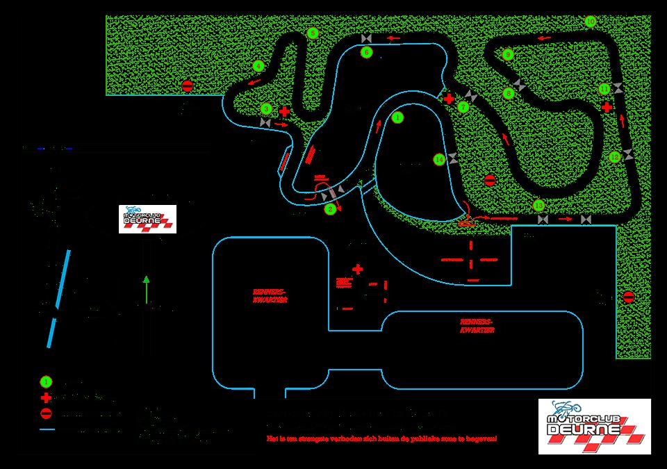 Niet betreden van de aangeplante wal achter bij het circuit! Niet betreden crossbaan en daar waar geen hekken staan langs het circuit mag men niet komen!