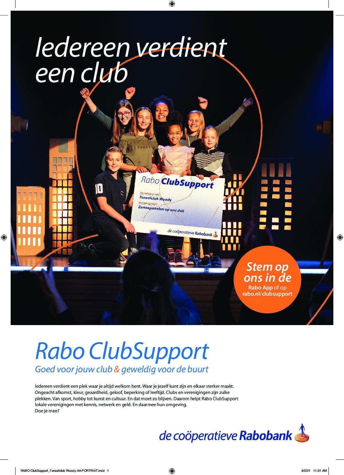 Rabobank Clubsupport 2021, krijgen wij jullie stem?