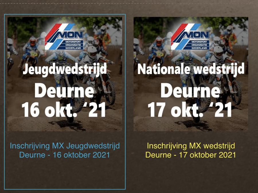 Motorcrossweekend MON bij M.C. Deurne zaterdag 16 en 17 oktober.